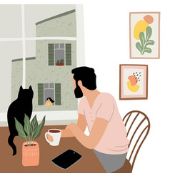 Stay at home young man looks out window vector