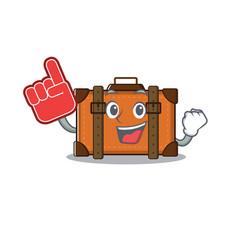 Suitcase with in cartoon foam finger shape vector