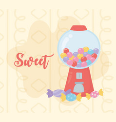 Sweet products bubble gum machine and candies vector