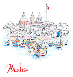 Taditional eyed boats luzzu in marsaxlokk malta vector