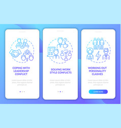 Team conflicts blue gradient onboarding mobile vector