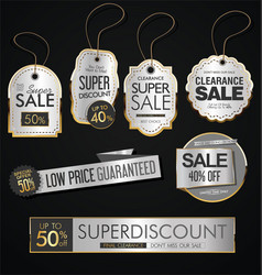 vintage style gold and silver sale labels design vector image