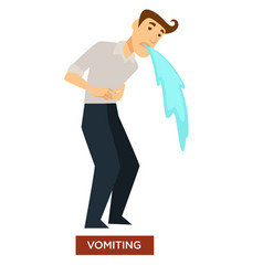 vomiting sunstroke symptom stomach dysfunction vector image