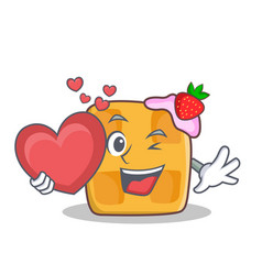 waffle character cartoon design with heart vector image