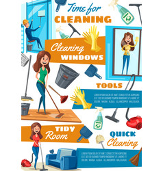 Washing windows and cleaning service household vector