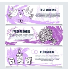 Wedding banners header set vector