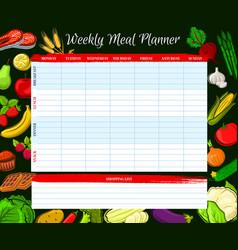 Weekly meal planner food week plan diary vector