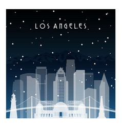 Winter night in los angeles night city vector