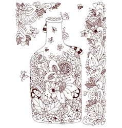 Zen tangle with flowers bottle vector