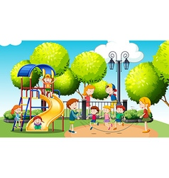 Children playing in the public park vector image vector image