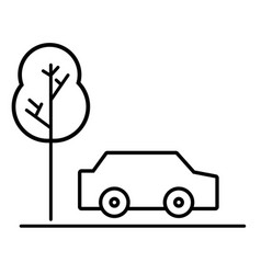 Line car transportation in the road via with tree vector