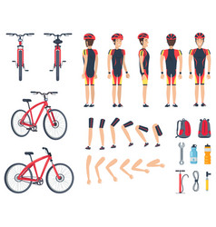 Man in special sport clothes and modern bicycle vector