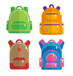 school backpacks set of flat colored backpack vector image vector image