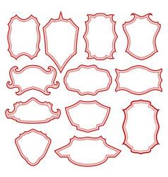 set of different red vintage frames vector image
