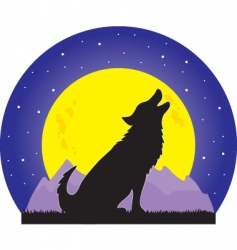 wolf and moon vector image