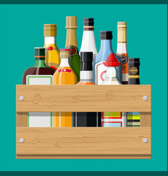 alcohol drinks collection in box vector image