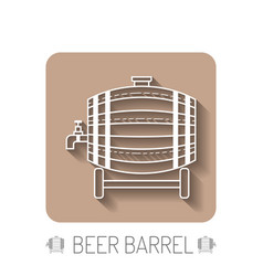 beer wooden barrel with a tap white linear flat vector image