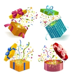 Gift Boxes And Confetti Set vector image vector image