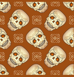 day of the dead seamless pattern with sugar skull vector image vector image