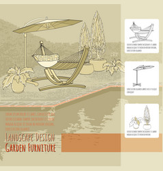 hammock umbrella pool and flowers in pot vector image vector image