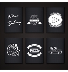 Pizza delivery The food and service Labels or vector image