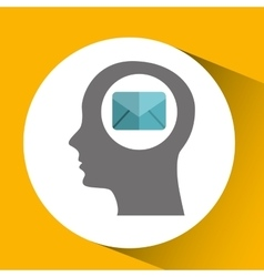 silhouette head with email message communication vector image vector image