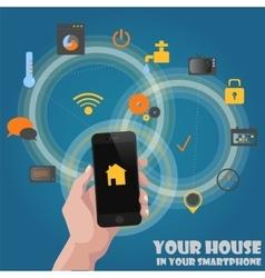 Smart home detectors controlling concept via phone vector image
