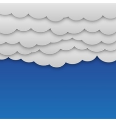 White paper clouds at blue background vector image vector image