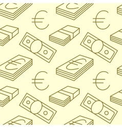 Currency seamless pattern dollar euro sign vector