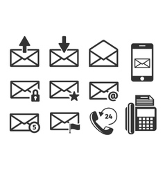Email and phone icons set vector