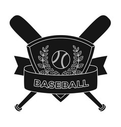 emblem baseball single icon in black style vector image vector image