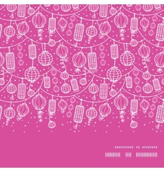 holiday lanterns line art horizontal frame vector image vector image