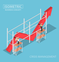 Isometric businessman trying to fix broken graph vector