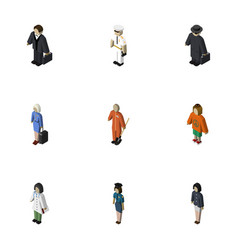 Isometric person set of doctor lady cleaner and vector