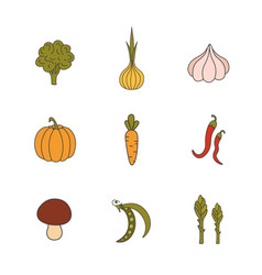 set hand drawn vegetables handdrawn elements for vector image vector image
