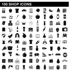 100 shop icons set simple style vector image