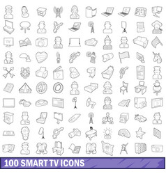 100 smart tv icons set outline style vector image