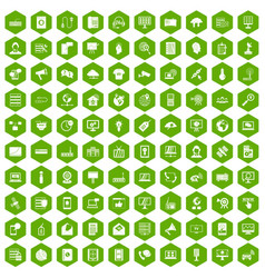 100 telecommunication icons hexagon green vector