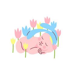 adorable newborn baby in bunny cap sleeping in vector image