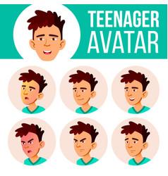 asian teen boy avatar set face emotions vector image