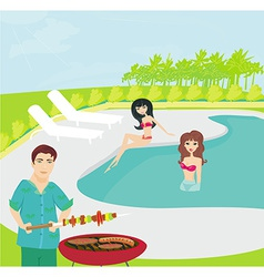Barbecue Party on the pool vector image