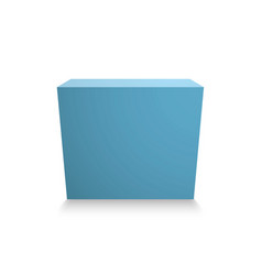 blank blue cube on white background 3d box vector image