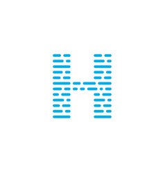 blue stripes logo letter h vector image