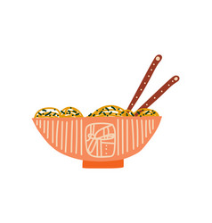 Bowl noodles soup with chopsticks traditional vector