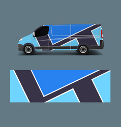 cargo van decal with green wave shapes truck vector image