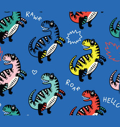 Cartoon dinosaurs seamless pattern for kid vector