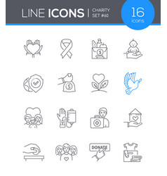 Charity - modern line design style icon set vector