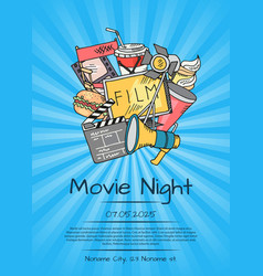cinema icons poster for movie night or vector image