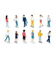 Collection business people working in office vector