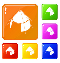 Conic tent icons set color vector